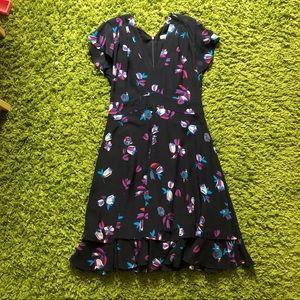 Rebecca Taylor silk navy bellflower dress